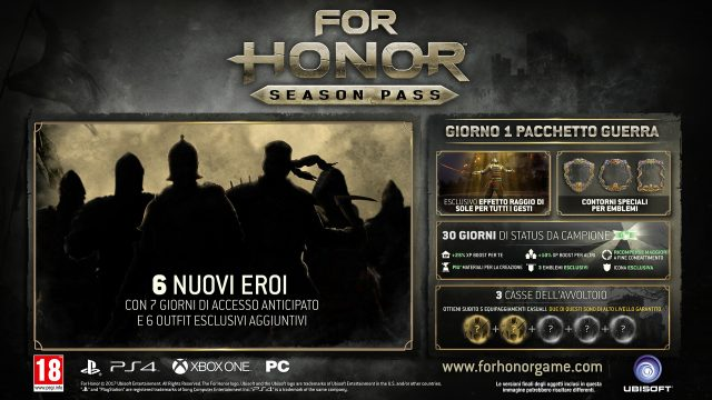Ubisoft annuncia il Season Pass di For Honor